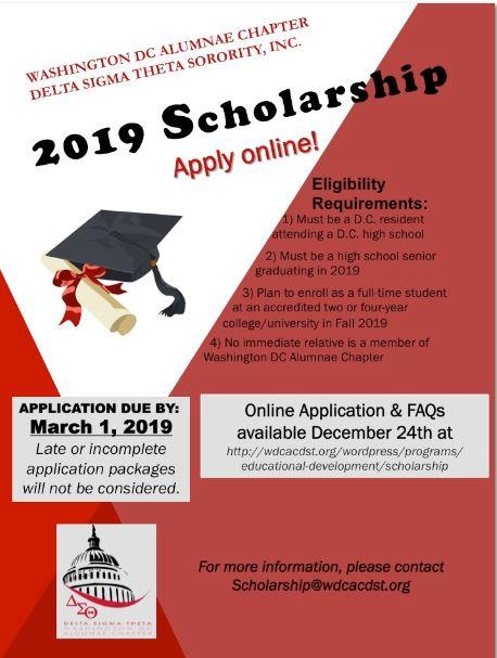 WDCAC Scholarship Program – Washington DC Alumnae Chapter